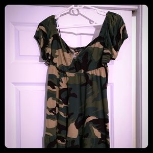INC camo mini dress L